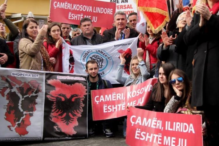 """Συγκέντρωση,, ελληνική πρεσβεία, Τίρανα, """"Τσάμηδες"""", εθνικιστές"""
